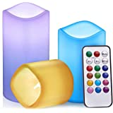 Tobeape Colour Changing Battery Operated LED Candles, Flameless Battery Pillar Candles, Decoration Candles for Wedding…