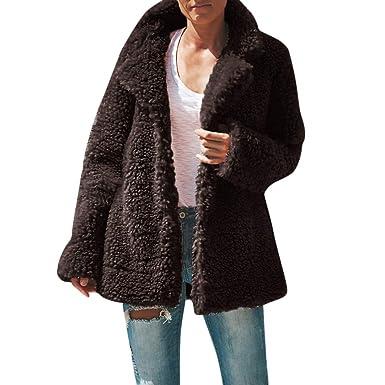 MEIbax Abrigos Mujer Invierno Capa de la Rebeca de Las Mujeres del tamaño Extra Grande del Bolsillo de la Piel sintética del Faux Outwear: Amazon.es: Ropa y ...