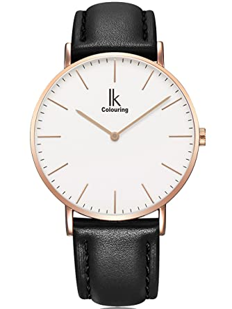 Damenuhren schwarz gold leder  Alienwork IK Quarz Armbanduhr Ultra-flach Uhr Damen Uhren Herren ...