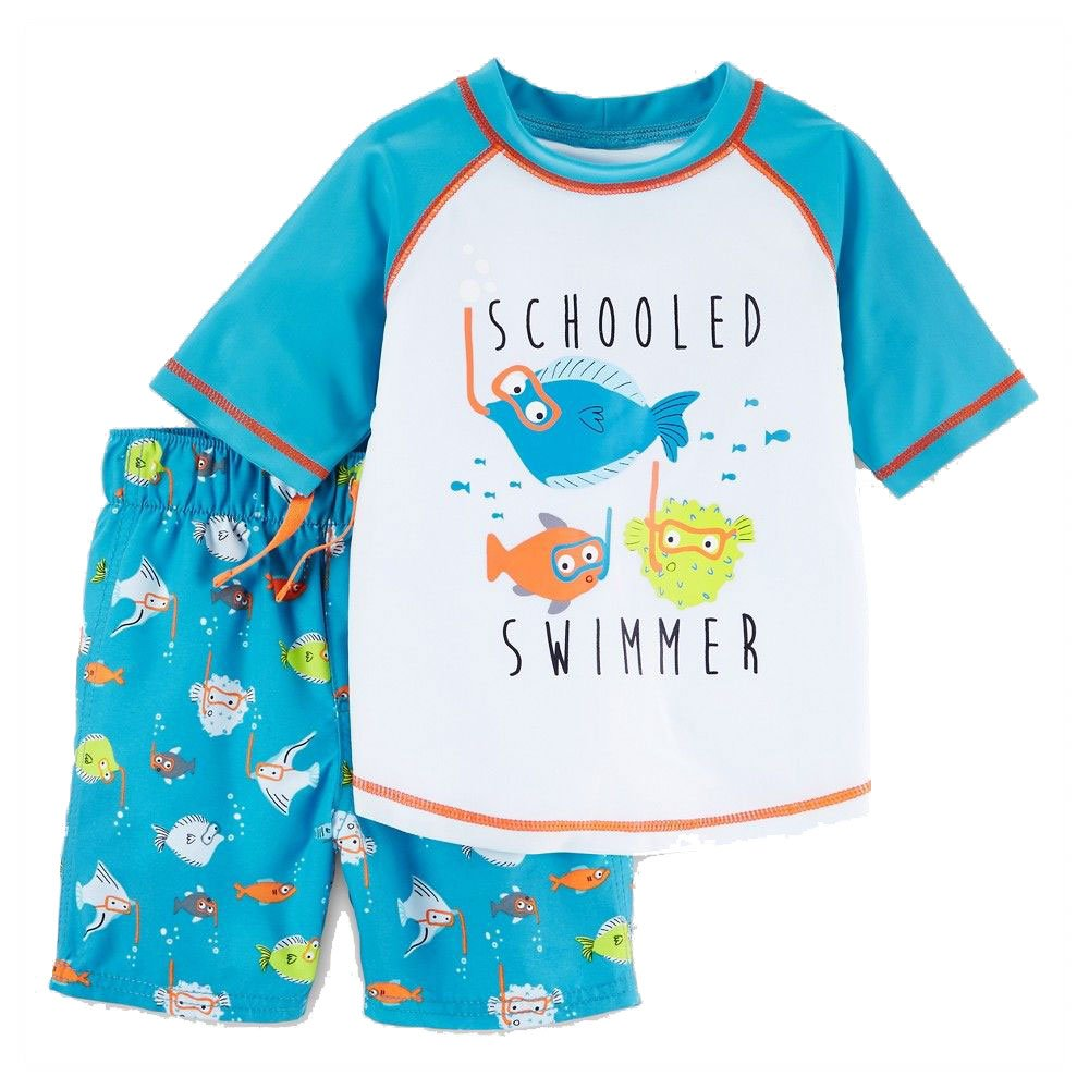 Just One You Made by Carter's Toddler Boys Rash Guard & Swim Trunk Set - Schooled Swimmer Fish (6M)