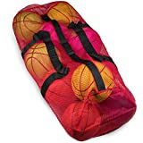 """39"""" Mesh Sports Ball Bag Adjustable Shoulder Strap, Oversize Duffle - Great Carrying Gym Equipment, Jerseys, Laundry Crown Sporting Goods"""
