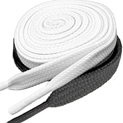 "2 Pair Flat Shoelaces 5/16"" Wide Many Colors and 52"" Lengths For Sneakers Shoes Canvas Sneaker Boot Strings-white+black: Shoes"