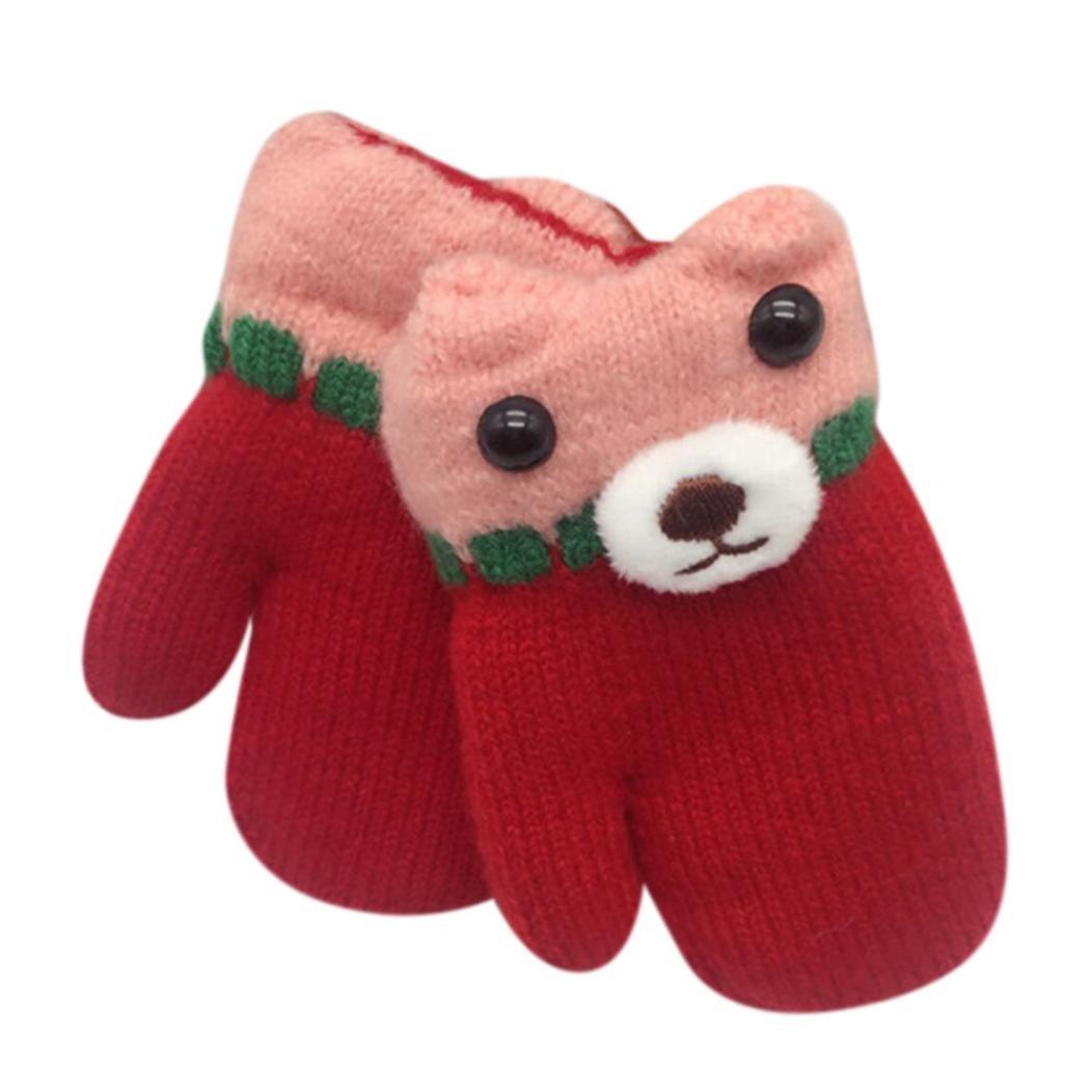 Staron Toddler Baby Winter Gloves Mittens with String Thicken Warm Hot Cute Gloves (Hot Pink)