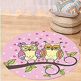 Niasjnfu Chen Custom carpetOwls Home Decor Owls in Love On Branch Polkadot Background Leaf Leaves Hearts Romance Themed Art Bedroom Living Room Dorm Decor