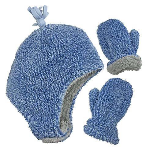 N'Ice Caps Little Boys and Baby Sherpa Lined Micro Fleece Pilot Hat Mitten Set (Royal Blue Fuzzy, 2-3 Years) - Fleece Lined Flap Hat