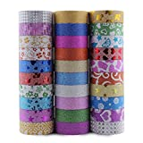 Decorative Glitter Washi Tape Set of 30 Perfect for Scrapbooking, DIY Crafts and Gift Wrapping
