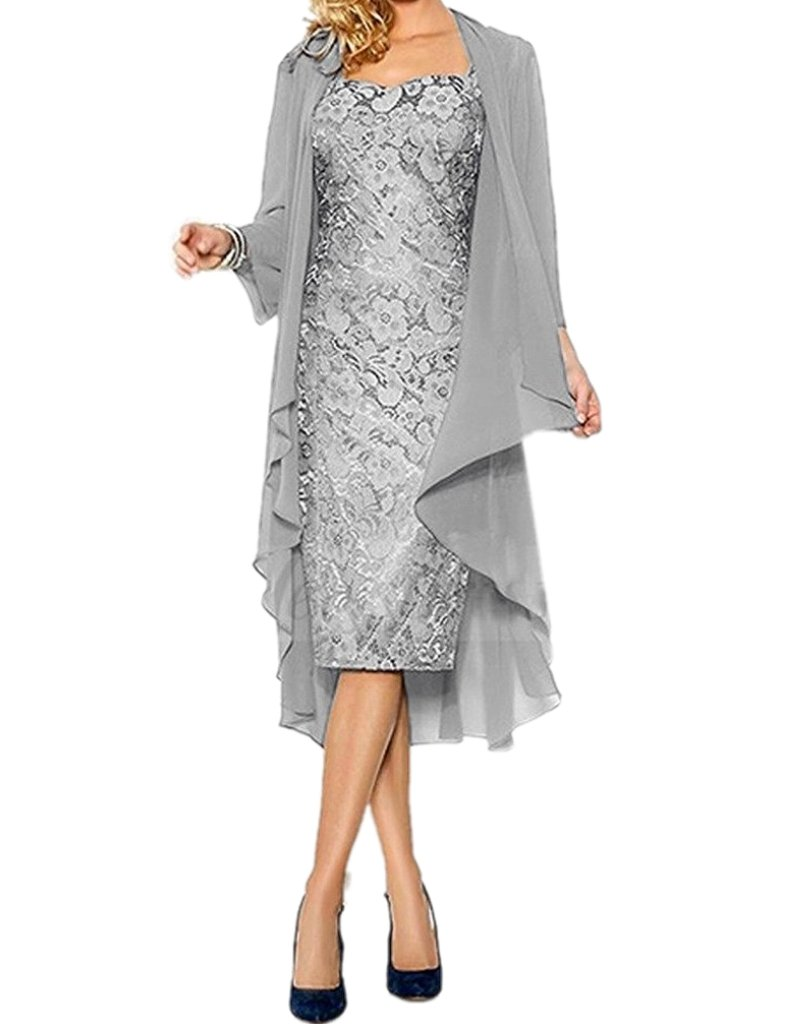 0395c7bf87630 ... Dresses/APXPF Women's Lace Mother of The Groom Dresses Tea Length with  Jacket Silver US26. ; 