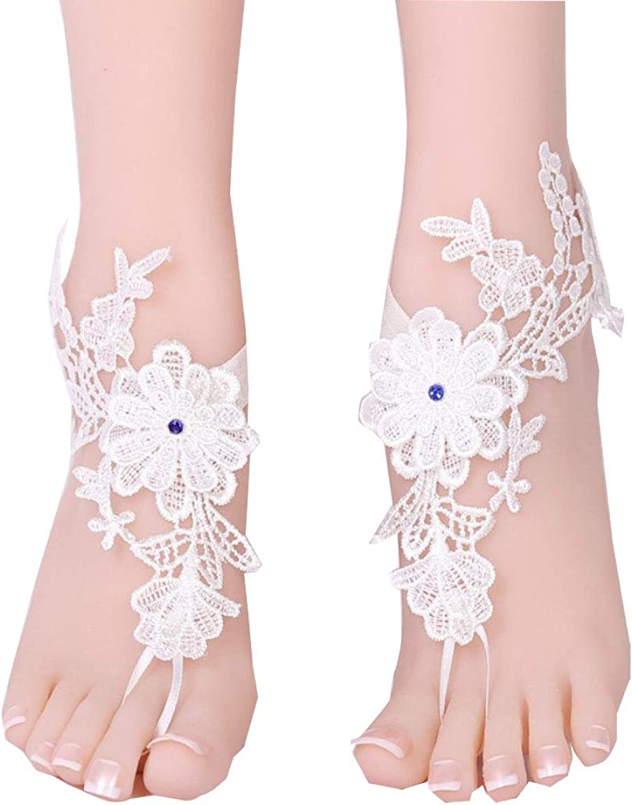 Bridal accessories Beach Sandal Nude Shoes Lace Pool Cotton Crochet Black Anklet Wedding Barefoot Black Sandals Bellydance Yoga