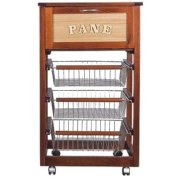 LEGNOLINE - Carrito de cocina con cajón para pan y cestos para fruta u otros productos, madera: Amazon.es: Hogar