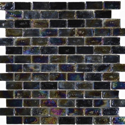 Pewter Black Textured Iridescent Glass Tile Blend 1