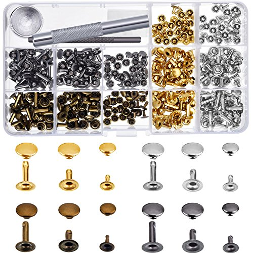 - Bememo 180 Set 3 Sizes Leather Rivets Single Cap Rivet Tubular Metal Studs with 3 Pieces Fixing Tool for DIY Leather Craft Rivets Replacement, 4 Colors Gold, Silver, Gunmetal, Bronze