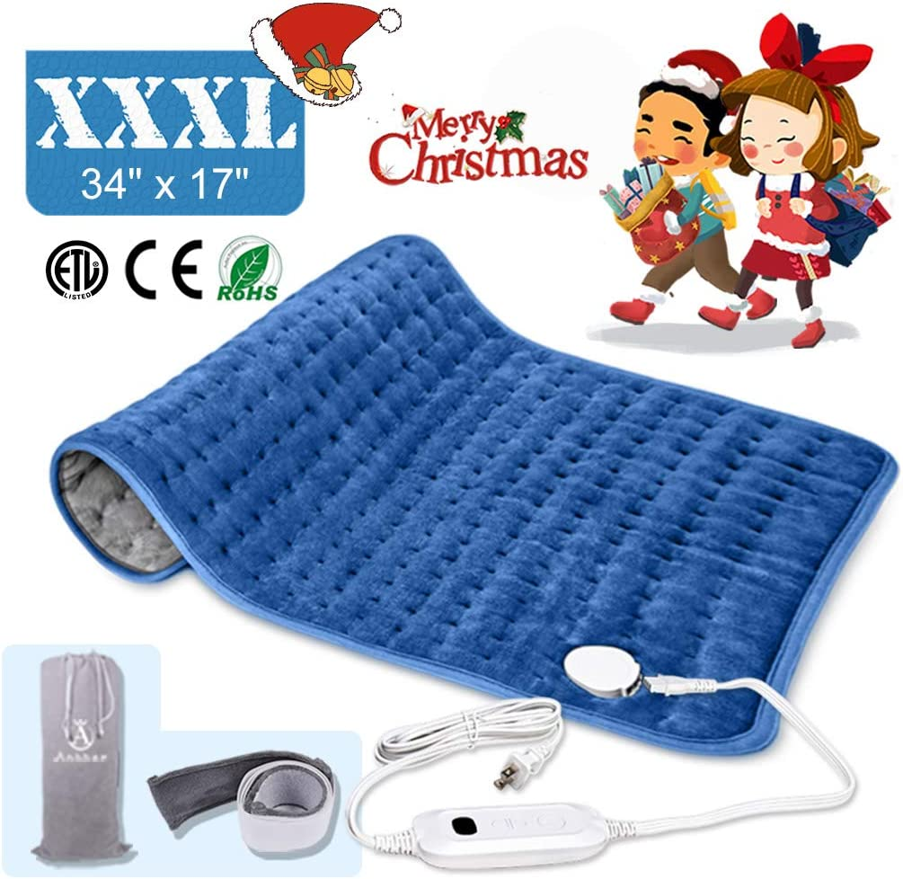 Heating pad, Large heating pad, Electric Heating Pad for Back Pain and Cramps Fast Relief.2 hours Auto Shut Off, Six Heat Settings, Up to 155 Fahrenheit Machine-Washable, Micro Plush/Soft Touch, Elast
