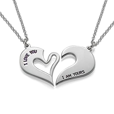 6da5b83f80 Silver Breakable Heart Necklace- Custom Made with 2 Names!: Amazon.co.uk:  Jewellery