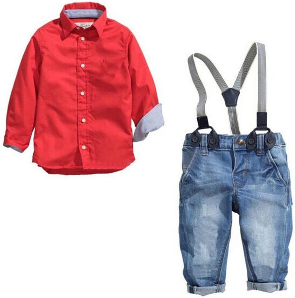 Little Boys Casual and Weeding Suspender Denim Pants + Tops Outfits Clothing Sets