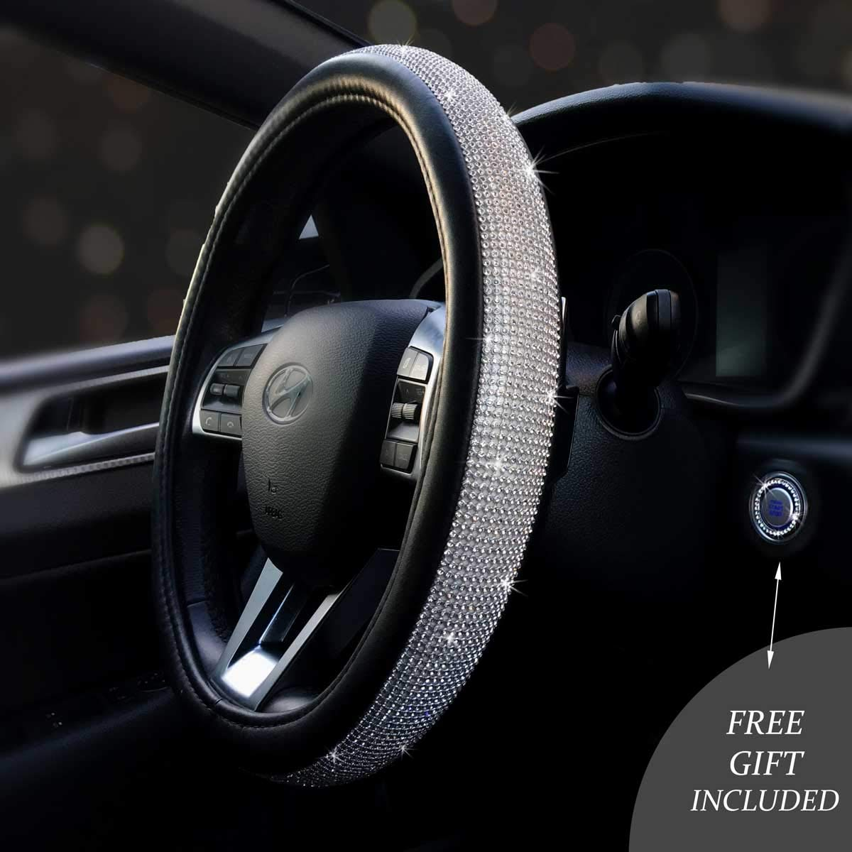 """Bling Car Decor Bling Steering Wheel Cover 15"""", Black PU Leather w/Inlaid Rhinestone Crystals + Free Car Bling Ring Button Emblem, Girly Bling Car Accessories for Women"""
