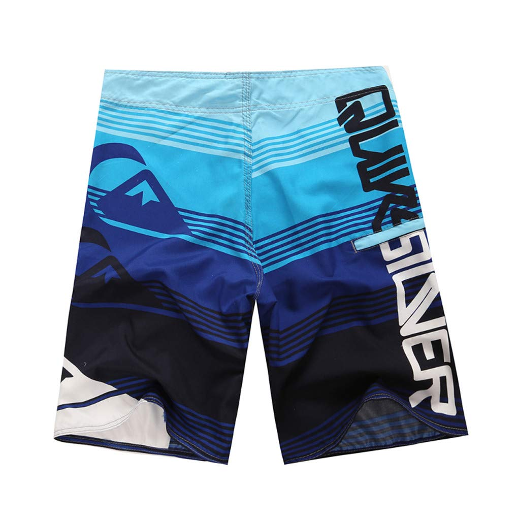 NUWFOR Men's Fashion Casual Printing Patchwork Beach Surfing Swimming Loose Short Pants(Blue,US S Waist:30.7'') by NUWFOR (Image #2)