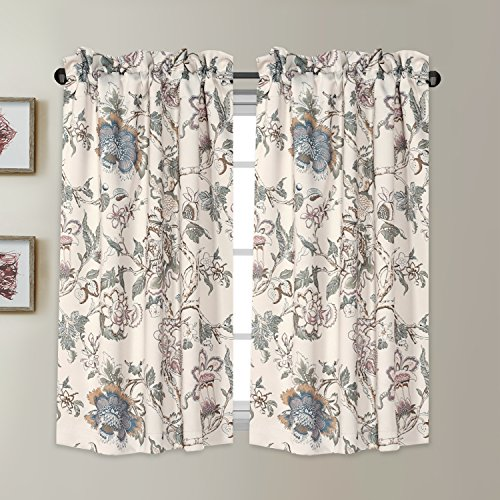 Blackout Energy Saving Ultra Soft Casual Kitchen Curtains Rod Pocket Window Curtain Tiers for Café, Bath, Laundry, Bedroom - Vintage Floral Pattern in Sage and Brown - (58W x 45L Pair)