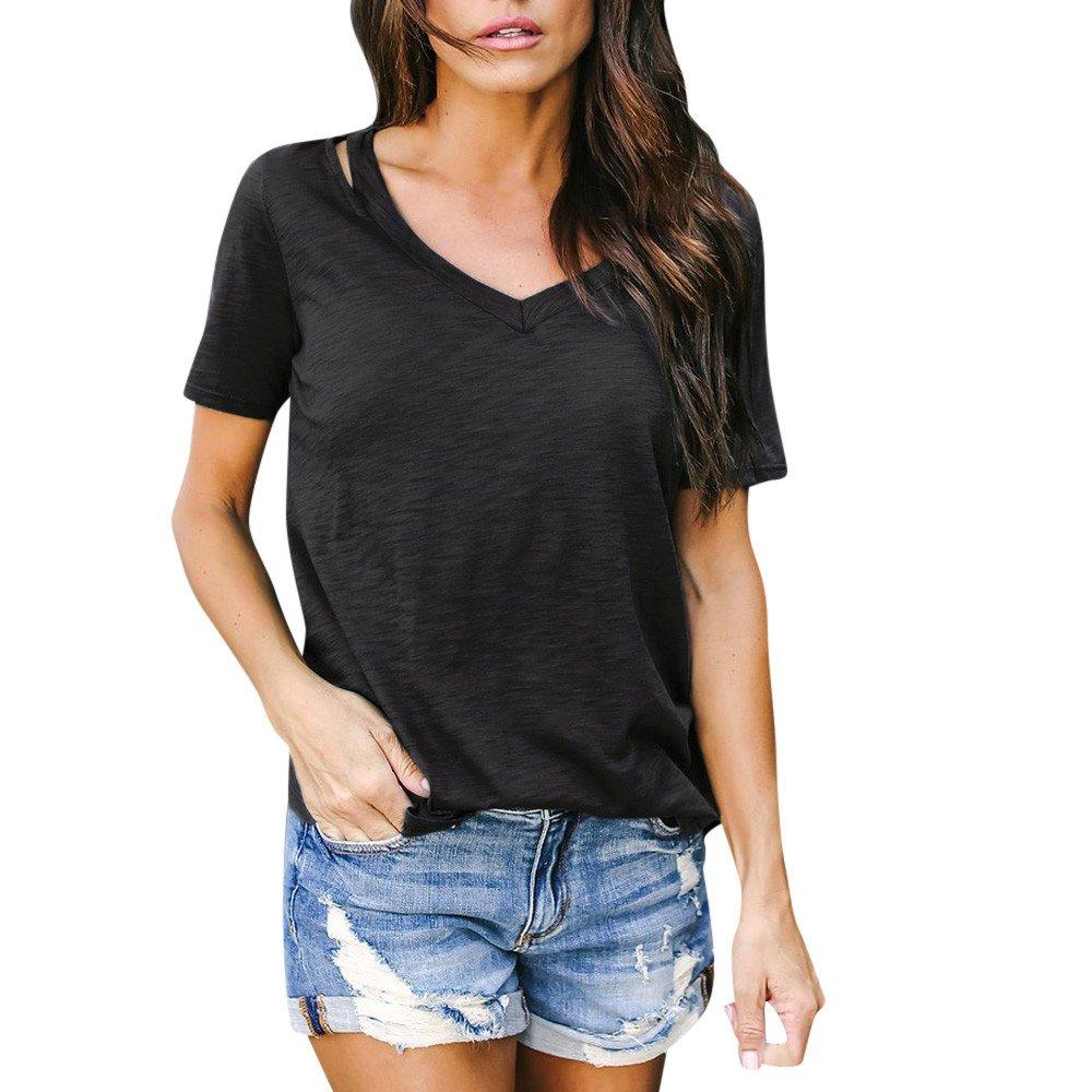 Ladies Asymmetrical Hem Blouses, Gogoodgo Women's Plain V Neck Spaghetti Straps Tops Elastic Fabric Short Sleeves Tops Black by Gogoodgo vest (Image #3)