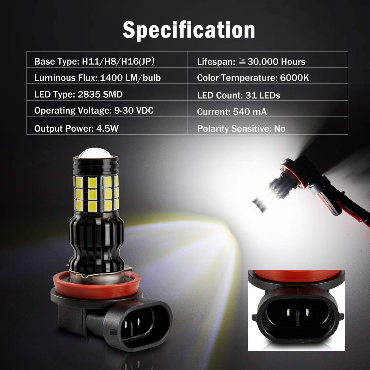 Parts DOT Approved Pack of 2 AUTOGINE 2800 Lumens Extremely Bright ...