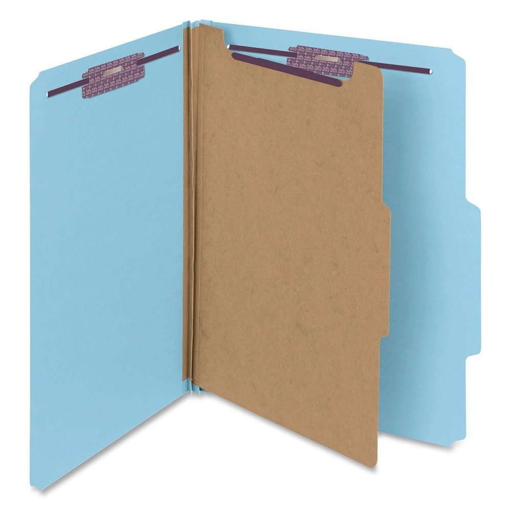 Smead Pressboard Classification File Folder with SafeSHIELD Fasteners uvfNWF, 40 Count (Blue)