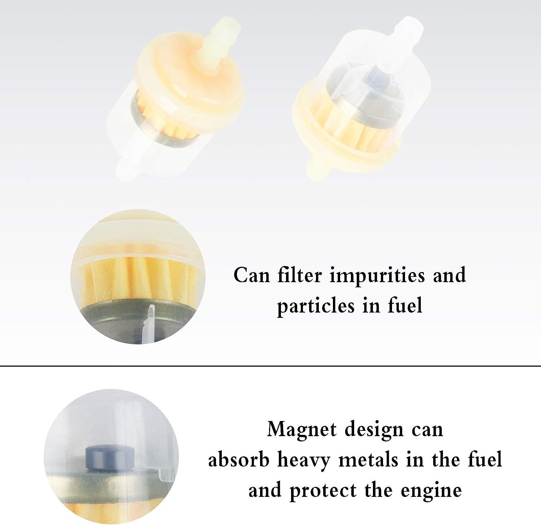 4 Tubi Carburante in Gomma e 8 Fermagli di Tubi Flessibili Filtrazione della Benzina per Moto//Generatore//ATV//Scooter//Kart//Tagliaerba Huayue 2 Pezzi Filtri Carburante in Linea per Moto