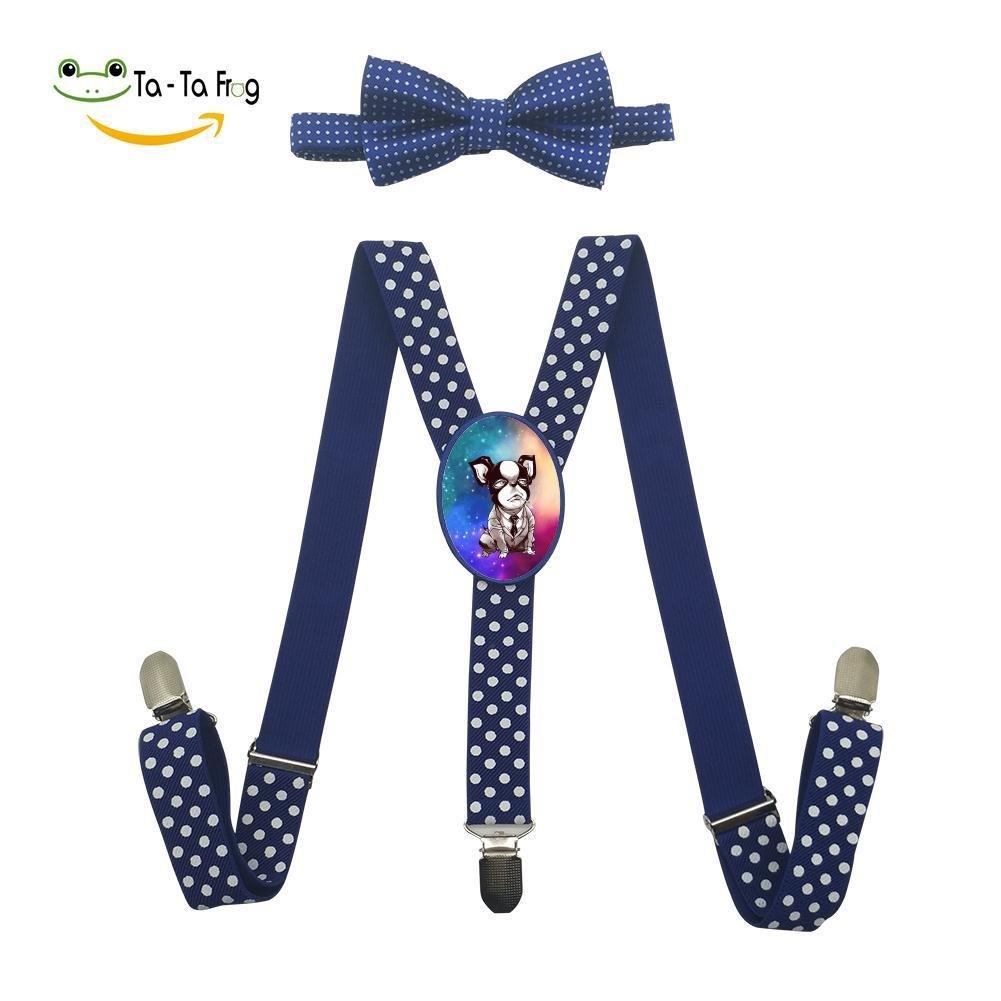 Xiacai Gentle Dog Suspender/&Bow Tie Set Adjustable Clip-On Y-Suspender Boys