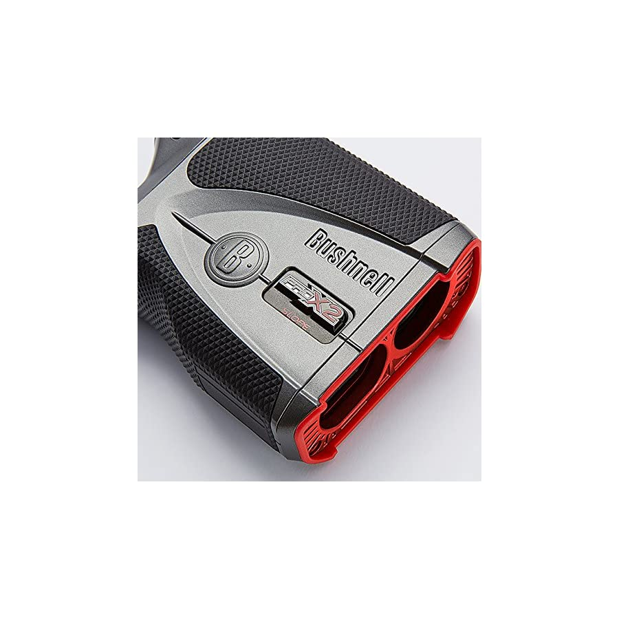 Bushnell Pro X2 Golf Laser Rangefinder Bundle | Includes Golf Rangefinder (Slope & Non Slope Function) with Carrying Case, PlayBetter Microfiber Towel and Two (2) CR2 Batteries