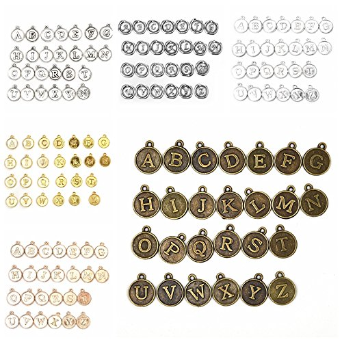 Round Initial Alphabet Charms Capital Letter for Jewelry Making Findings Crafting Value Pack 17.5mm Set of 6 (156Pcs)