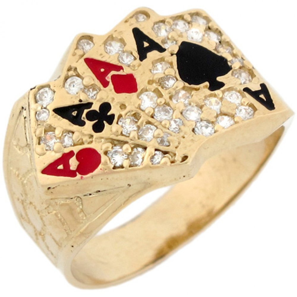 14k Real Gold CZ Four of A Kind Poker Enamel Nugget Lucky Mens Ring