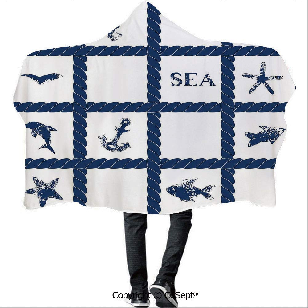 Polyester Hooded Blankets,Navy Yacht Rope Used as Frame with Starfish Fish and Anchor Image,Unisex All Ages One Size Fits All(59.05x78.74 inch),Navy Blue and White
