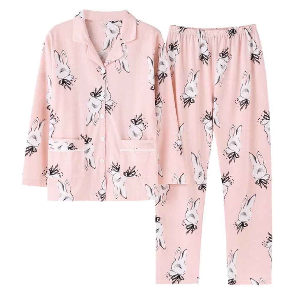 Homewear Pigiama Foto di Animali TENGTENGCAI Donne Pigiama Imposta a Manica Lunga in Cotone Sleepwear con Collo a V e graziosi Animali Femmina