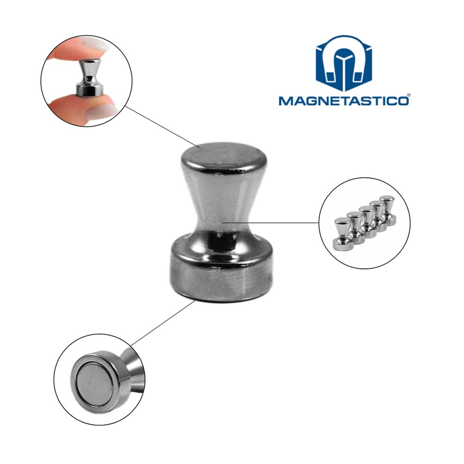 Magnetastico 10 Very Strong Steel Cone Magnets With Neodymium N42