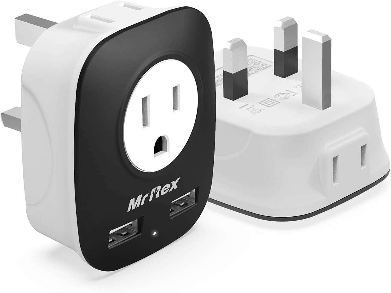 Mr Rex US to UK Travel Adapter [2-Pack], Type G Plug Power Adapter 2&3-Prong Outlet and 2 USB Ports for US to London England Scotland Ireland, Singapore, Macau, Malaysia; for Phone, Laptop, Camera