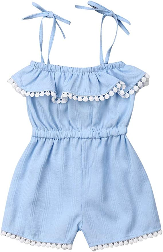 Toddler Kids Baby Girl Playsuit One Piece Floral Halter Romper Jumpsuit Pants Overalls Outfits Casual Spring Summer Clothes