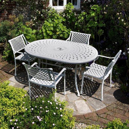 Weißes June 150 x 95cm Gartenmöbelset Aluminium - 1 Weißer JUNE Tisch + 4 Weiße JANE Stühle