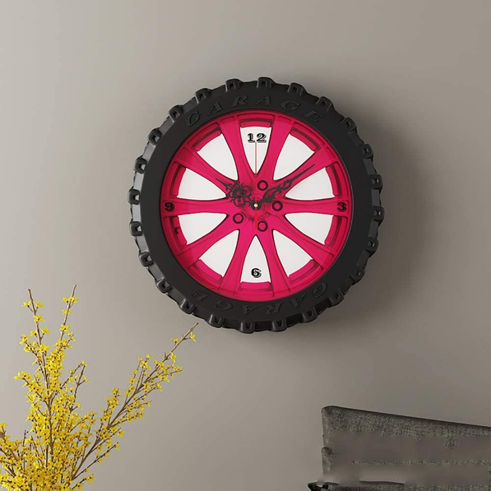 REDEY Wall Decor Clock,15.7 Inch Tire Rim Gear Style Time Home Decoration, Silent Non-Ticking Quartz Battery Operated Modern Wall Art Clock