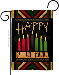 Breeze Decor Kwanzaa Greeting Garden Flag Winter Kinara Candles Celebrates African Americans Heritage House Decoration Banner Small Yard Gift Double-Sided, Made in USA