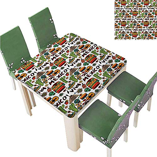 Elegant Moroccan Tablecloth,Viva Mexico with Native Elements Poncho Tequila Salsa Hot Peppers Image Tablecloth Great for Buffet Table,55W x 55L Inches(Elastic Edge)