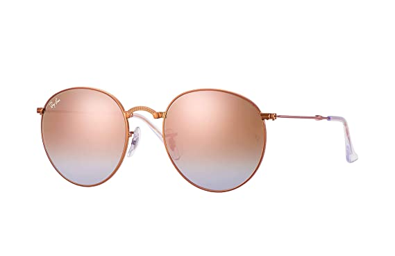 9cef601c35 Ray-Ban RB3532 Unisex Round Gradient Metal Sunglasses (Shiny Bronze Frame  Copper Flash