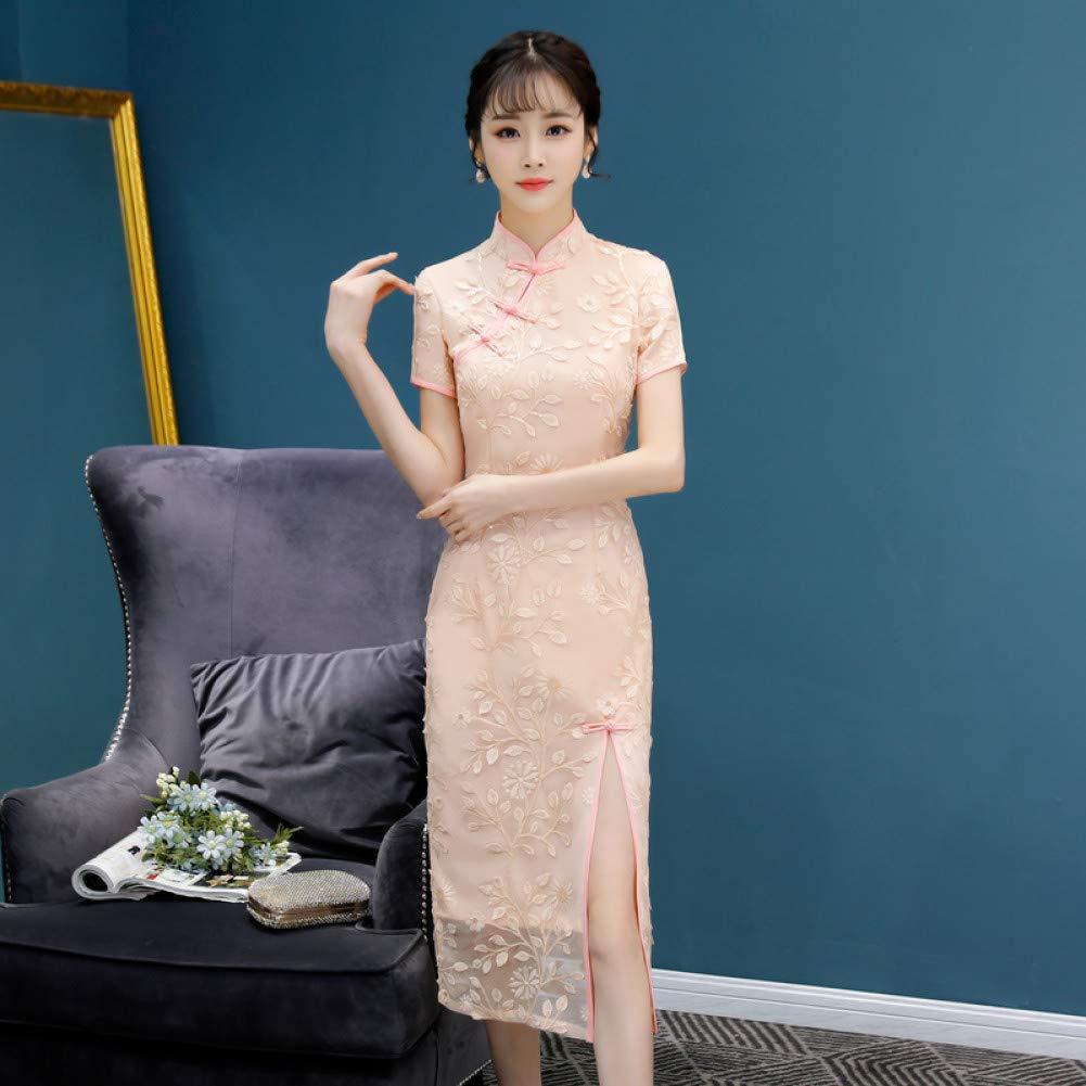 A1 M Qingxi Longue Section Fille Dentelle Cheongsam Robe Femelle atmosphère Digne Version améliorée de Lady Cheongsam