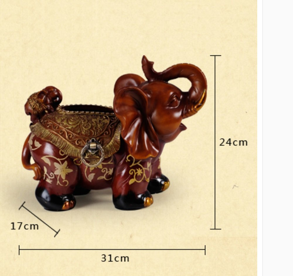 Hyun times European resin tissue box tray pumping an elephant mother napkin box creative luxury living room decoration ornaments by Hyun times tissue box (Image #5)