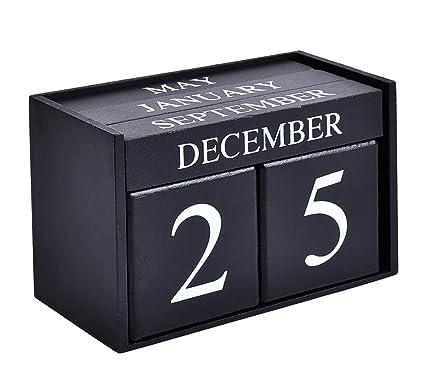 Wondrous Wooden Desk Blocks Calendar Perpetual Block Month Date Display Home Office Decorationblack 6 1 X 3 9 X 2 9 Inches Beutiful Home Inspiration Aditmahrainfo