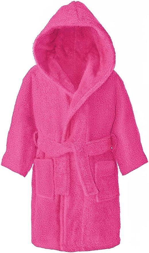 Albornoz con capucha para niños, 100% algodón, 4 – 12 años, Rosa ...