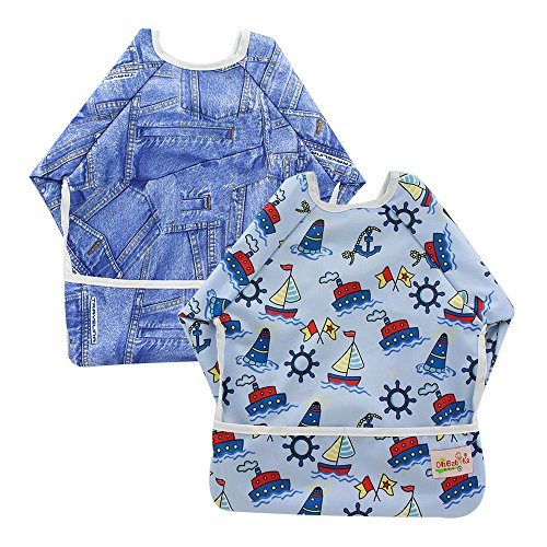 OHBABYKA Toddler Baby Waterproof Sleeved Bib, 6-24 Months (Cruises & Denim)