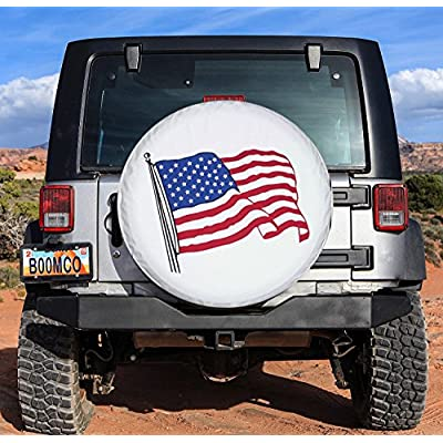 Tsofu Spare Tire Cover PVC Leather Waterproof Dust-Proof Universal Spare Wheel Tire Cover White Star Fit for Jeep,Trailer, RV, SUV and Many Vehicle(16