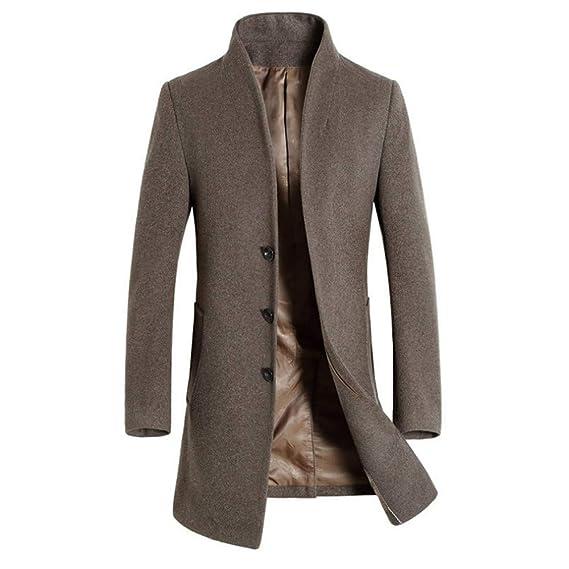 ... con Capucha Abrigos Calientes Chaqueta para Hombre Abrigo de Invierno cálido Botón Largo Outwear Abrigo Elegante Abrigos: Amazon.es: Ropa y accesorios