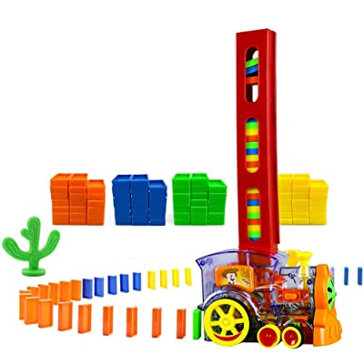 MENGDUO 80 Pcs Domino Train Blocks Rally Electric Toy Set, Train Model with Lights and Sounds Construction and Stacking Toys, Set Suitable for Boys and Girls Aged 3 and Over, Creative Gifts for Kids: Toys & Games [5Bkhe1803012]