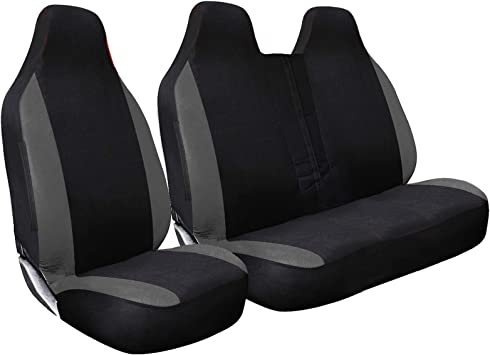 Premium Van Seat Covers Single Drivers And Double Passengers Seat Covers HMS FOR RENAULT TRAFIC SPORT ALL MODELS Black And Grey Patch 2 1