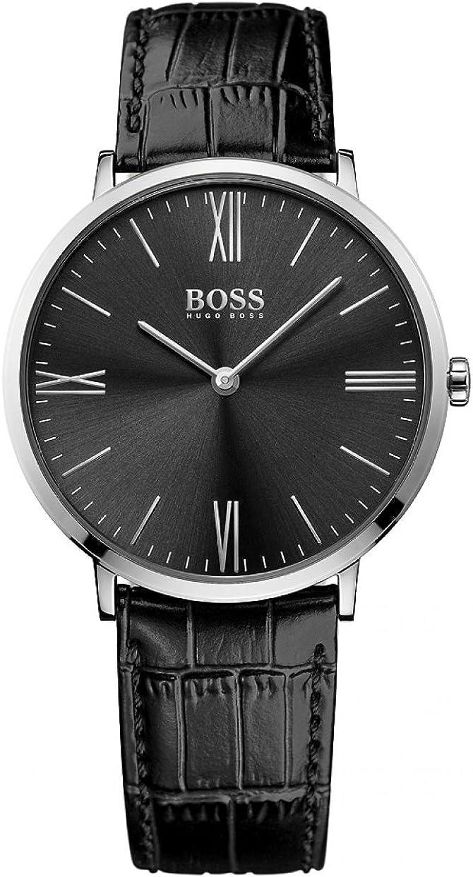 Hugo Boss 1513369 - Reloj analogico para hombre con mecanismo de cuarzo, de acero inoxidable con correa de piel, negro