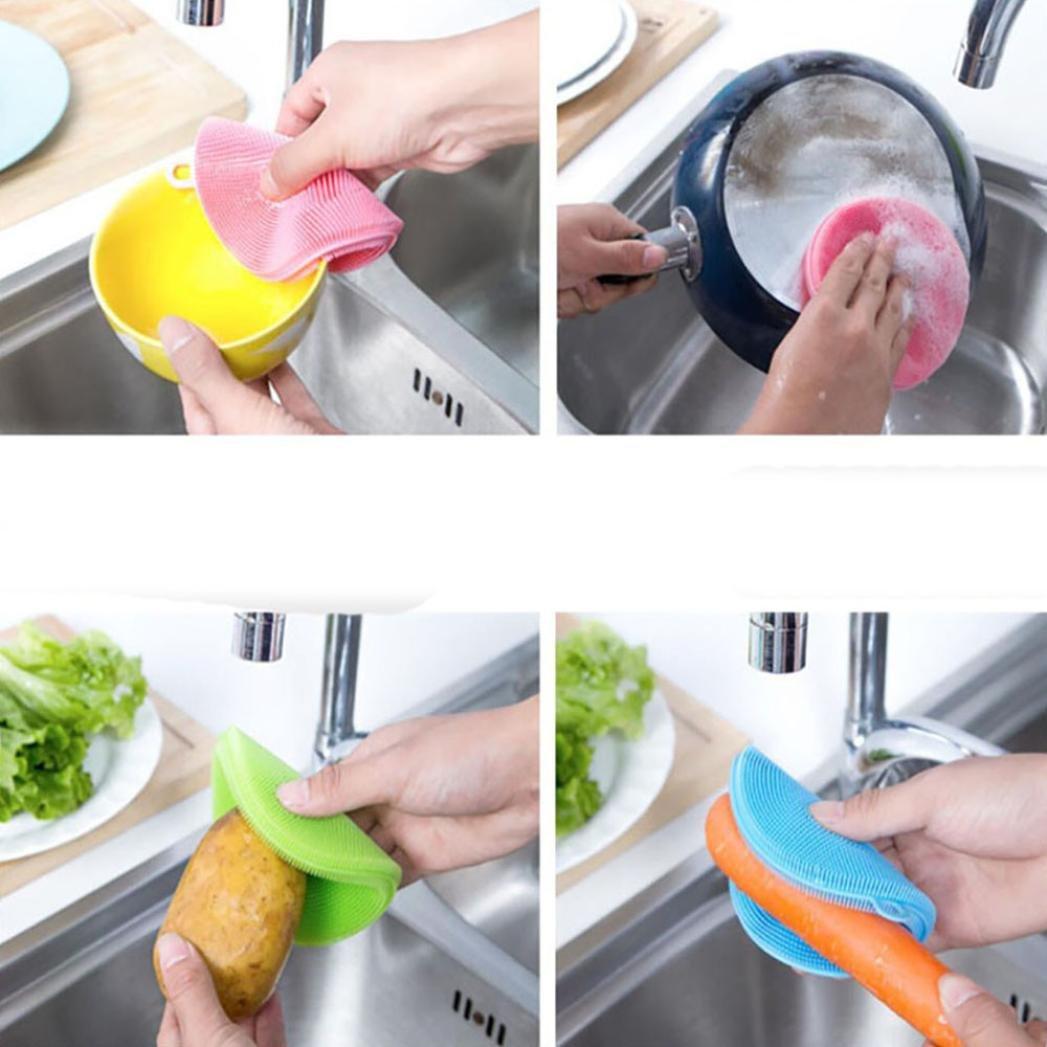 HKFV Superb Useful Design Cleaning Silicone Dish Washing Sponge Scrubber Kitchen Cleaning antibacterial Tool (Purple): Amazon.es: Hogar